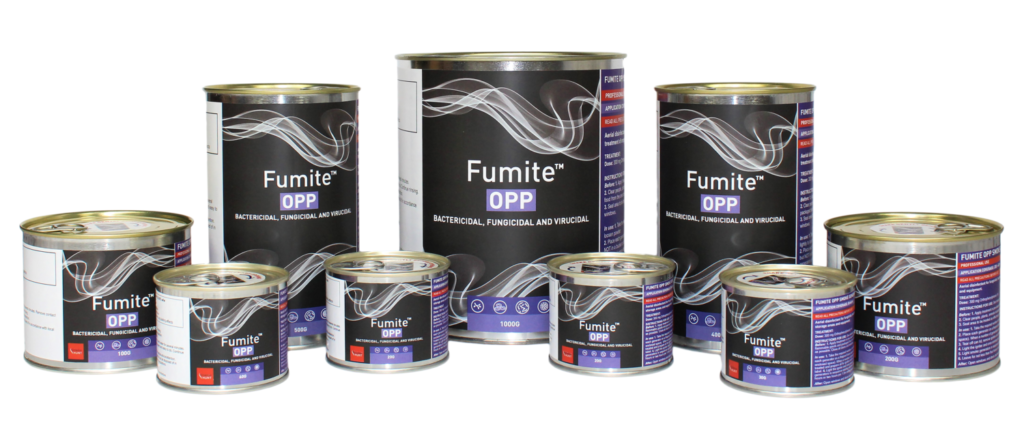Fumite OPP disinfectant smoke generators manufactured in the UK by Octavius Hunt