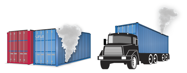 Detect Leaks in transport and freight containers using Drain and airflow smoke tester